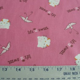Hello Kitty cotton  Life is sweet on pink