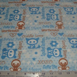 Skelanimals Flannel fabric spoiled rotten cutie pie in blue
